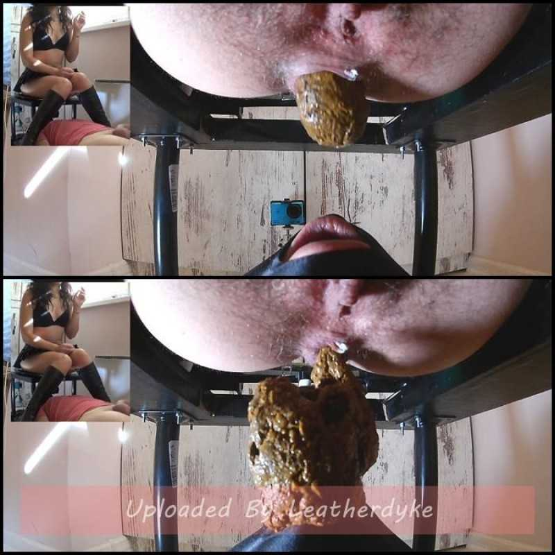 Big Shit and Cum in his mouth with MistressAnna