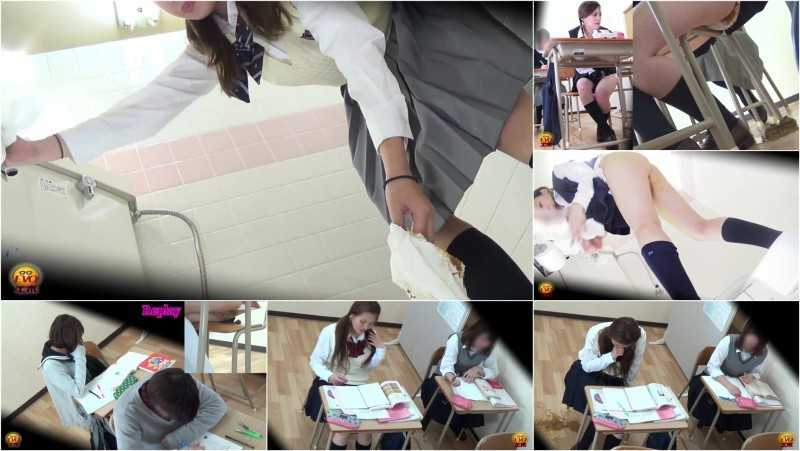 EE-150 [#1] | Cramming schoolgirls pantypooping in the class. Erotic diarrhea voyeur.