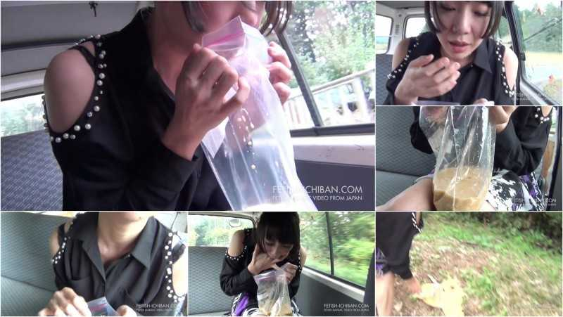 FTV-08 | Girl vomiting in a plastick bag in moving vehicle.