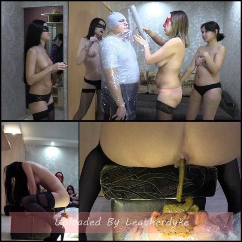 Girls feed mummified slave with shit - MilanaSmelly
