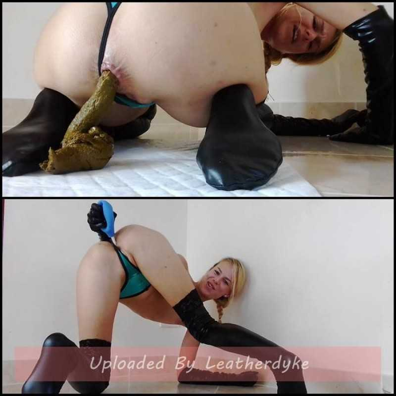 Painful Shit in Thong and Latex, Enema Mess with MissAnja