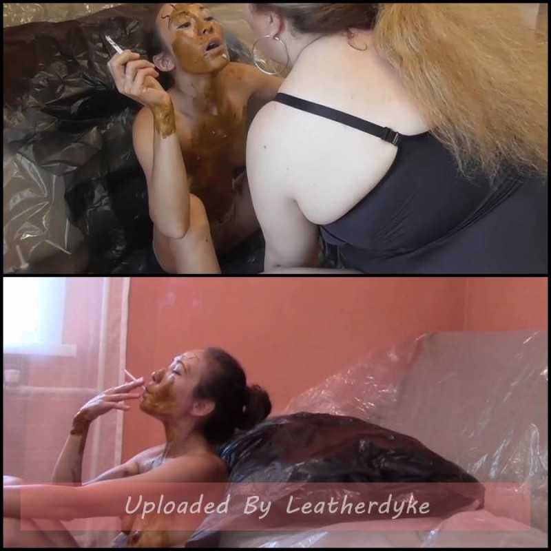 Shitty slut covered in shit serves my ashtray with Mistress